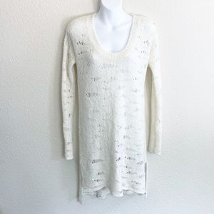 Free People Cream Distressed Knitted Sweater Dress